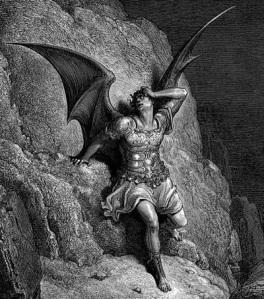 Ilustración de Doré. Satanás expulsado del Paraíso.