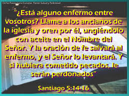 Parte de la fórmula del rito de la Unción de los Enfermos, de la Carta de Santiago 5, 14-16-
