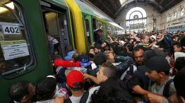 @ From Euronews, 3/9/2015. At Budapest (HU) Train Station. Destination unknown.